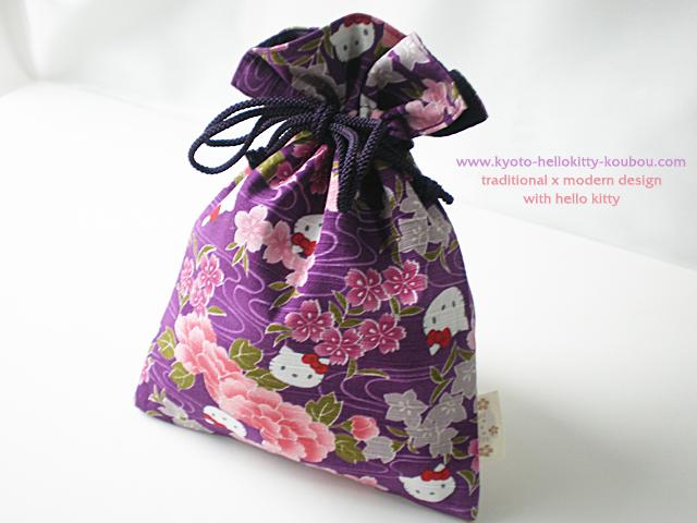 ハローキティ流水巾着 紫
